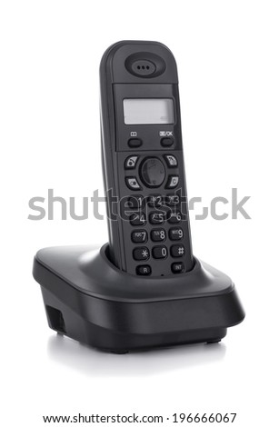 Black Cordless Phone with Base Isolated on White Background - stock photo