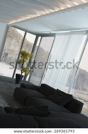 Black Couch at Architectural Elegant Living Room with Transparent Glass Windows. 3d Rendering. - stock photo