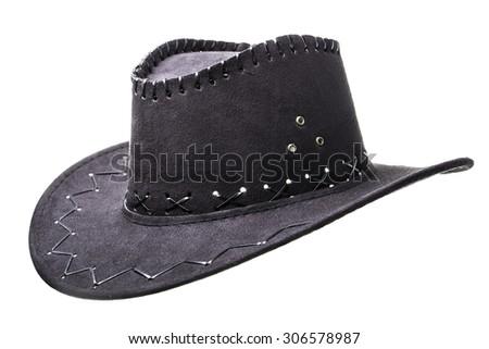 black cowboy hat isolated on white - stock photo
