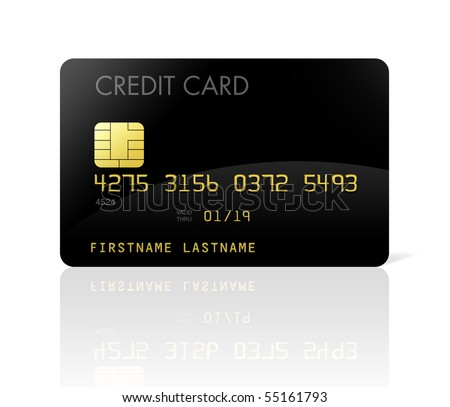 black credit card isolated on white with clipping path - stock photo