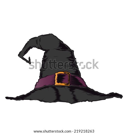 Black creepy witch hat with violet belt isolated on a white background. Color line art. Halloween retro design. Raster copy. - stock photo