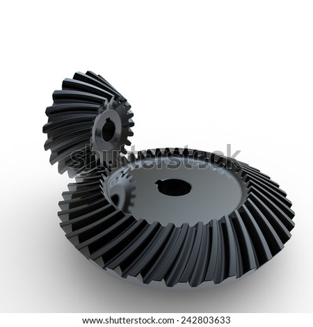 Black crown and pinion spiral bevel gears on a white background - stock photo