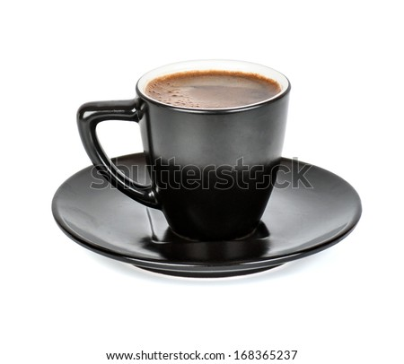 black Cup and saucer with a coffee in isolation - stock photo
