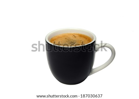black cup of coffee isolated on white background - stock photo