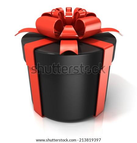 Black cylinder gift box isolated on white background - stock photo