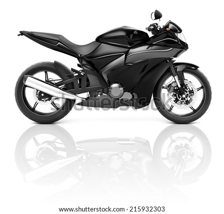 Black 3D Sports Motorcycle - stock photo