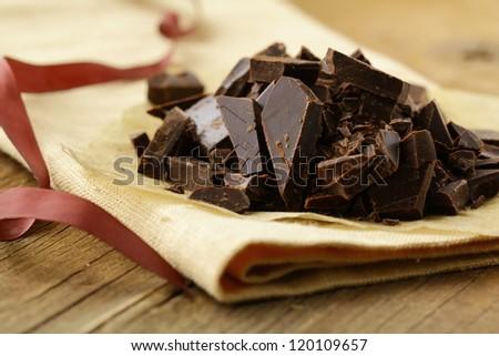 black dark chocolate chopped  into pieces - stock photo
