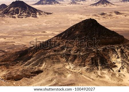 Black Desert in Sahara, western Egypt - stock photo