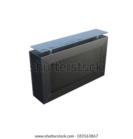 black design reception desk made of metal isolated on white - stock photo