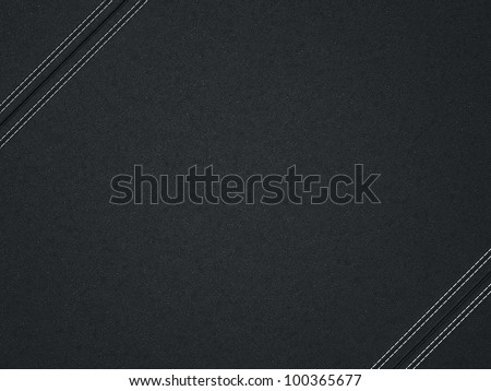 Black diagonal stitched leather background. Useful as texture - stock photo