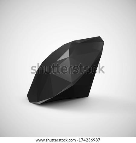 Black Diamond on a gradient background - stock photo