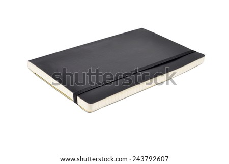 Black diary book (notepad), isolated on white background - stock photo