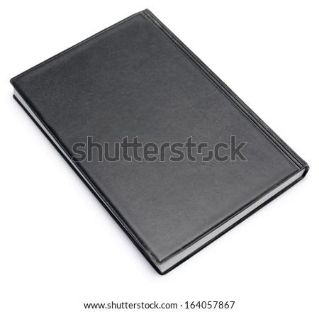 black diary isolated on white - stock photo