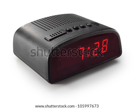 black digital alarm clock radio - stock photo