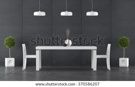 Black dining room with wall blackboard paneling and white table with chairs - 3d Rendering - stock photo