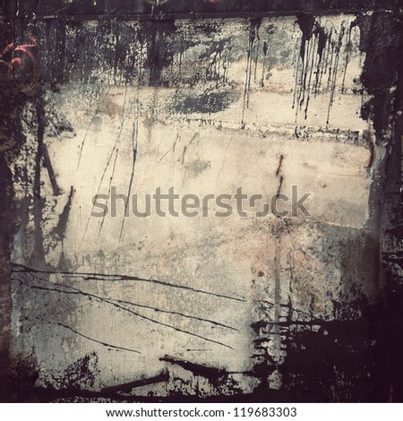 black dirty grunge wall ; vintage illustration - stock photo