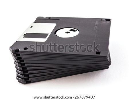 black diskette isolated on white background - stock photo