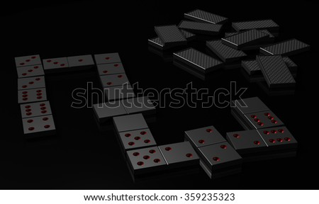 Black domino on black surface - stock photo