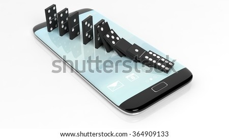 Black domino tiles falling in a row on smartphone screen, isolated on white - stock photo