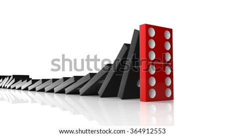 Black domino tiles falling in a row on to red last one standing, isolated on white - stock photo