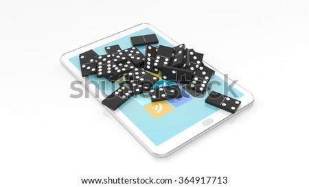 Black domino tiles randomly piled on tablet screen, isolated on white - stock photo