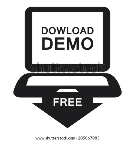 Black Download Demo Free Label, Sign or Icon Isolated on White Background - stock photo