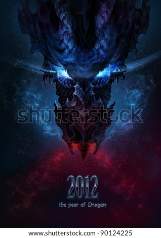 Black dragon as a symbol of the new 2012 year in the Gothic style. The title-page calendar - stock photo