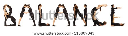 Black dressed people forming BALANCE word over white - stock photo