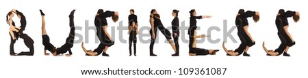 Black dressed people forming BUSINESS word over white - stock photo