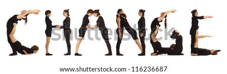 Black dressed people forming CHANGE word over white - stock photo