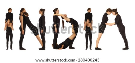 Black dressed people forming INDIA word over white - stock photo