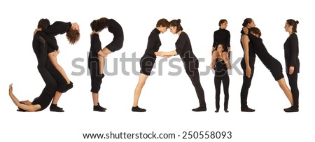 Black dressed people forming SPAIN word over white - stock photo