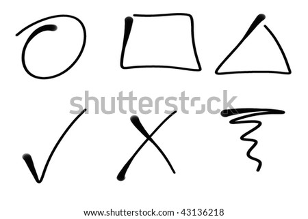 Black drippy real ink hand-drawn shapes. Simple design elements. - stock photo
