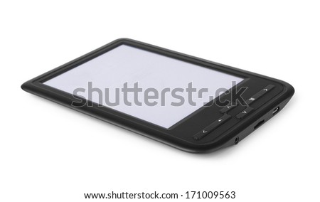 Black e-book on a white background - stock photo