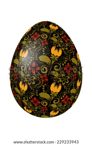Black Easter egg with bright elements of traditional Russian painting. Design element. Raster copy. - stock photo