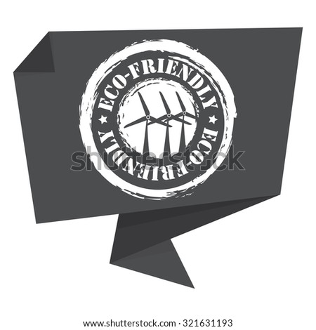 Black Eco-Friendly Paper Origami Speech Bubble or Speech Balloon Infographics Sticker, Label, Sign or Icon Isolated on White Background - stock photo