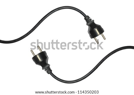 Black electric cable isolated on white - stock photo
