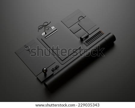 black elements on black paper background - stock photo