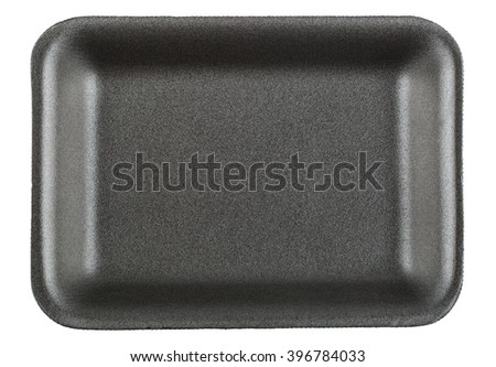 Black empty food tray isolated on white background - stock photo