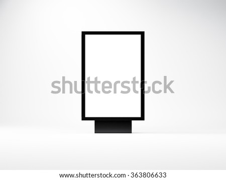 Black empty lightbox in the studio. Blank white wall background. 3d render - stock photo