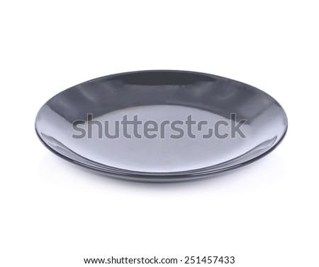 black empty plate on white background - stock photo