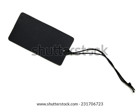 Black empty price tags on a white background - stock photo