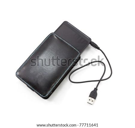 Black external hard disk on white background - stock photo