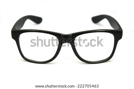 black eye glasses isolated on white background - stock photo