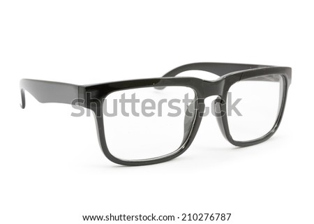 black eye glasses  isolated on white background,  file includes a excellent clipping path - stock photo
