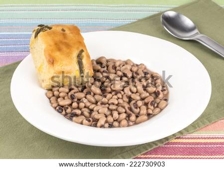 black eye peas and corn bread - stock photo