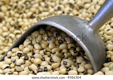 black eyed peas with a scoop - stock photo