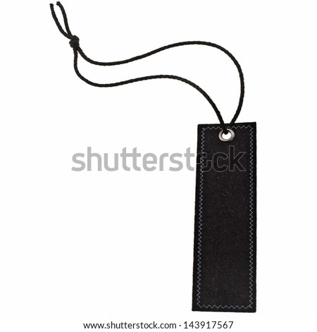 Black fabric  tag with lace isolated on white background - stock photo