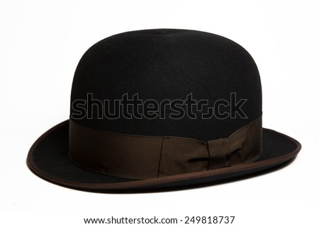 Black fashion hat isolated on white background - stock photo