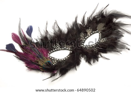 Black feather carnival mask on a white background - stock photo